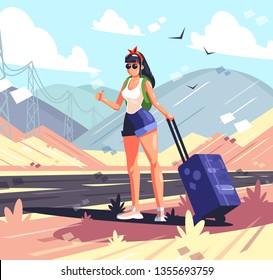 Hitchhiking girl in the desert