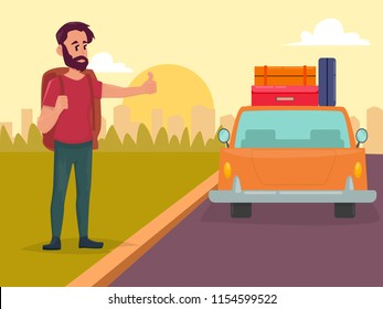 Hitchhiking road travel concept