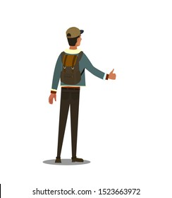 Hitchhiking road travel concept. Vector illustration in cartoon style.