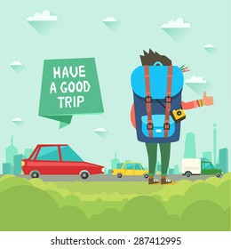 "Hitchhiking tourism concept. Vector illustration in flat style. Young Hitchhiker traveling with big bag and photo camera on city background and ""Have a good trip"" ribbon"