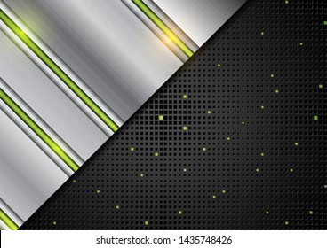 Hi-tech abstract silver metallic background with green glowing light. Vector illustration