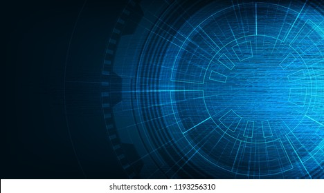 Hi-tech Circle with Circuit Microchip Line Technology on Future Background,Digital and Communication Concept design,Vector illustration.
