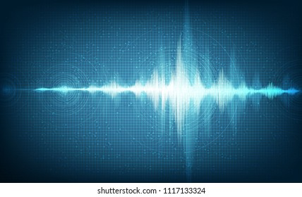 Hi-Tech Digital Sound Wave Low and Hight Style with Circle Vibration on Light Blue Background,technology and earthquake wave  diagram concept,design for music studio and science,Vector Illustration.