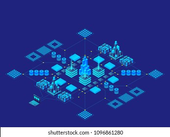 Hi-tech digital technology concept. Futuristic circuit board. Electronic motherboard. Communication and engineering concept. Vector isometric illustration