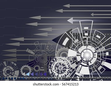 Hi-tech digital technology and engineering with gear wheel on circuit board with arrow, digital telecoms technology concept,Abstract futuristic-technology on gray color background,Vector illustration.