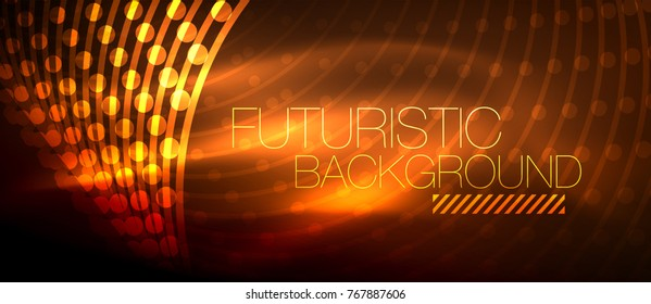 Hi-tech futuristic techno background, neon shapes and dots. Technology connection, big data, dotted structure, orange color