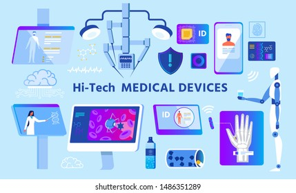 Hi-Tech Medical Devices Set. Advertising Cartoon Poster. Robot and Robotic Systems, Mobile and PC Application, Nanochip, Innovative Drugs. Online Medicine of Future. Vector Flat Illustration