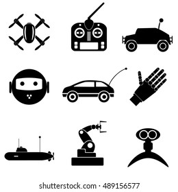 hi-tech modern technology toys simple black icons collection eps10