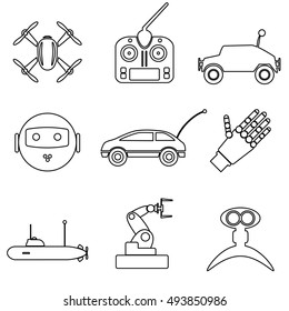 hi-tech modern technology toys simple black outline icons collection eps10