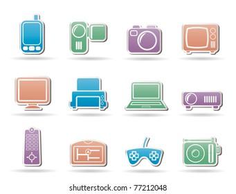 Hi-tech technical equipment icons - vector icon set