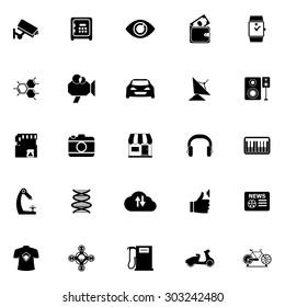 Hitechnology icons on white background, stock vector