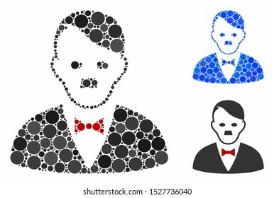 Hitler manager mosaic of round dots in different sizes and color tints, based on hitler manager icon. Vector round dots are united into blue collage.