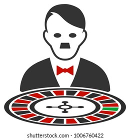 Hitler Roulette Croupier flat vector pictogram. An isolated icon on a white background.