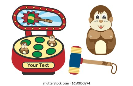 Hitting machine games. Hit the mole. Flat design. Coin operated game. Vector ,illustration