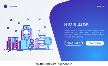 HIV and AIDs concept: doctor with blood test. Vector illustration, web page template.