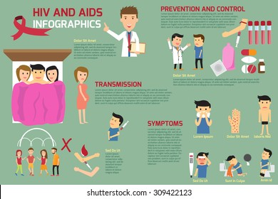 Hiv and Aids elements infographics. vector illustration