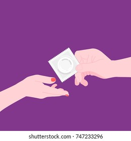HIV / AIDS Info. Woman and man hands with condom. Physiology, contraception, health. Vector illustration. Healthcare poster or banner template.