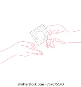 HIV / AIDS Info. Woman and man hands with condom. Physiology, contraception, health. Vector illustration in line style. Healthcare poster or banner template.