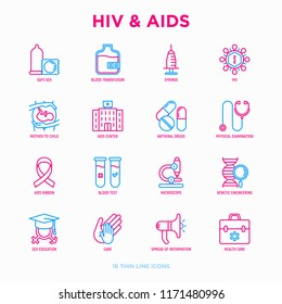 HIV and AIDs thin line icons set: safe sex, blood transfusion, syringe, antiviral drugs, physical examination, AIDs ribbon, blood test, microscope, genetic engeering. Modern vector illustration.