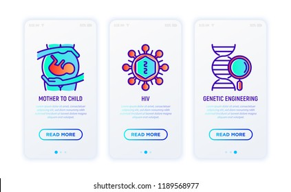HIV and AIDs thin line icons: from mother to child, virus cell, genetic engineering. Vector illustration.