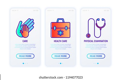 HIV and AIDs thin line icons set: child hand in adult's hand, health care, physical examination. Vector illustration.