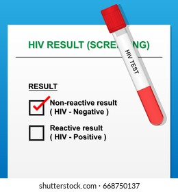 HIV Test Result with Vacutainer