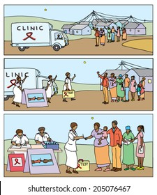 HIV-aids awareness campaign comic strip showing a mobile testing clinic arriving in a rural district, with people gathering to be tested.