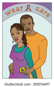 HIV-aids awareness campaign featuring an African man and woman embracing, holding a condom with the slogan Wear and Care.