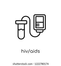 HIV/AIDS icon. Trendy modern flat linear vector HIV/AIDS icon on white background from thin line Diseases collection, editable outline stroke vector illustration