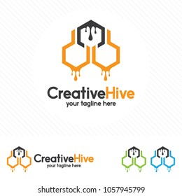 Hive and honeycomb logo vector. Beehive symbol vector.