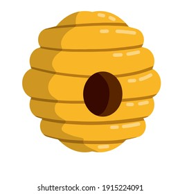 Hive. Yellow beehive. Home of the wasp and insect. Element of nature and forests. Honey production. Flat cartoon illustration isolated on white