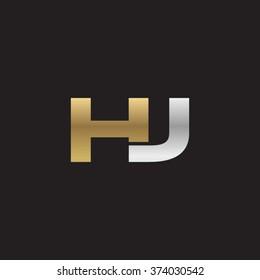 HJ company linked letter logo golden silver black background