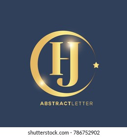 HJ  Logo Design Template. Luxury Gold Letter Logo Vector eps.10