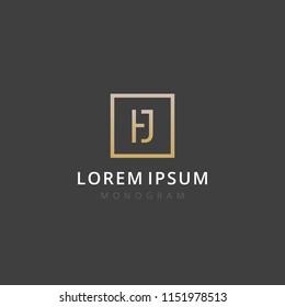 HJ. Monogram of Two letters H & J. Luxury, simple, stylish and elegant HJ logo design. Vector illustration template.