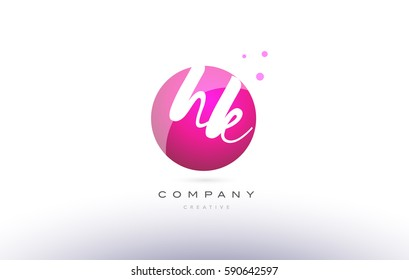 hk h k  sphere pink 3d alphabet company letter combination logo hand writting written design vector icon template