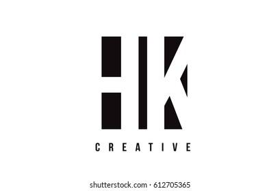 HK H K White Letter Logo Design with Black Square Vector Illustration Template.