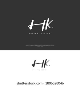 HK Initial handwriting or handwritten logo for identity. Logo with signature and hand drawn style.