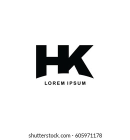 hk initial letter brand logo template logotype single color