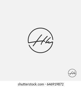 HK initial signature vector logo mark