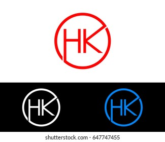 Hk Logo. Letter Design Vector with Red and Black Gold Silver Colors