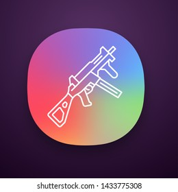 HK UMP weapon app icon. Virtual video game firearm, gun. Shooter game rifle. Cybersport sniper military inventory. UI/UX user interface. Web or mobile application. Vector isolated illustration