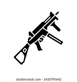 HK UMP weapon glyph icon. Virtual video game firearm, gun. Shooter game rifle. Cybersport, esport sniper military inventory, equipment. Silhouette symbol. Negative space. Vector isolated illustration