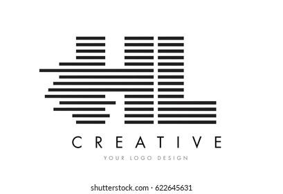 HL H L Zebra Letter Logo Design with Black and White Stripes Vector