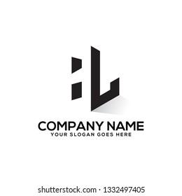 HL initial letter logo vector , negative space logo illustration