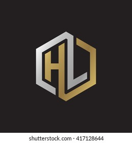 HL initial letters looping linked hexagon elegant logo golden silver black background