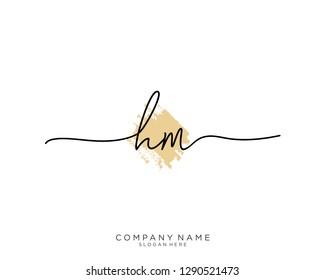 HM H M Initial handwriting logo template