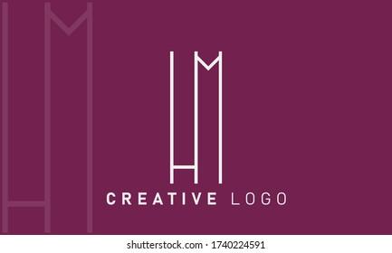 HM H M Letter Logo Design Template Vector