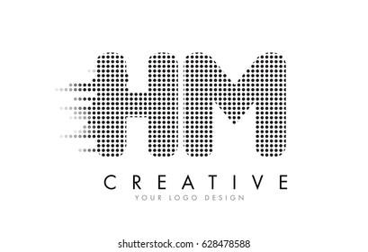HM H M Letter Logo Design with Black Dots and Bubble Trails.