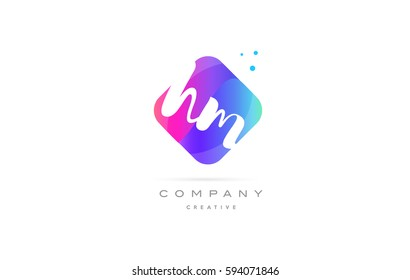 hm h m  pink blue rhombus abstract 3d alphabet company letter text logo hand writting written design vector icon template