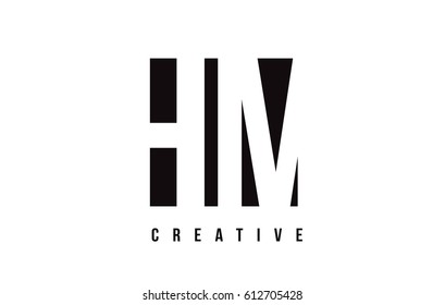 HM H M White Letter Logo Design with Black Square Vector Illustration Template.